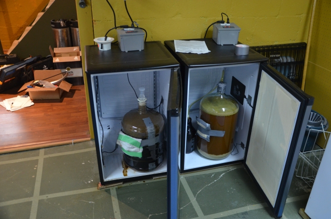 My two fermentation chambers. Imperial Stout on the left and Brett IPA on the right