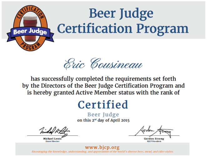 BJCP certified certificate